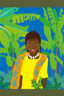 Tropical paintings of tropical women and banana trees