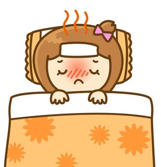 風邪で寝込む女の子