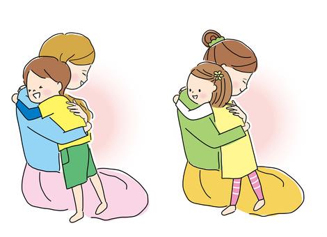 ママと抱き合う子供達