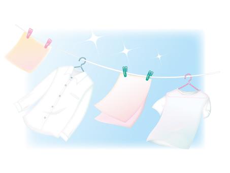 푸른 하늘과 세탁물