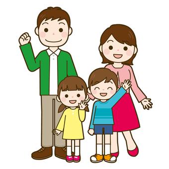 家族4人 全身