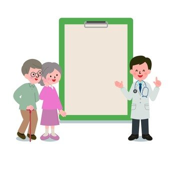 Medical - see clipboard Male doctor and couple