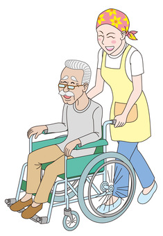 Caregiver and old gentleman in wheelchair