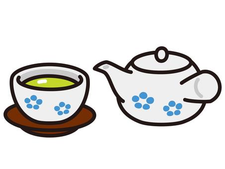 Green tea teppu and cups