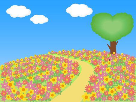 Flower field and heart tree