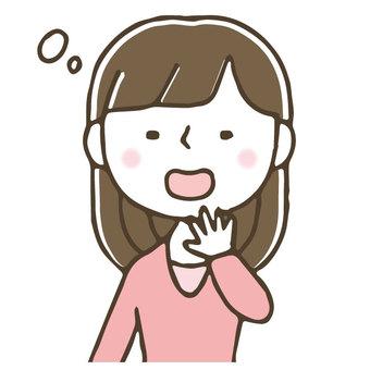 あくびをするかわいい女性/手描き/寝不足