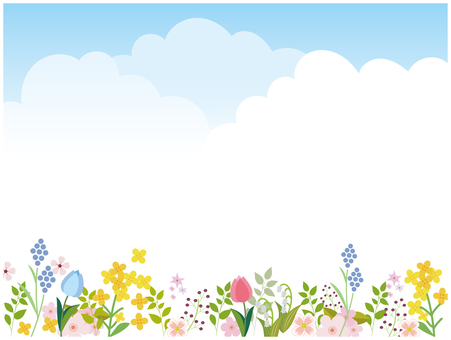 Sky and flowers background