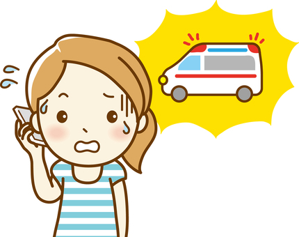 Woman calling an ambulance