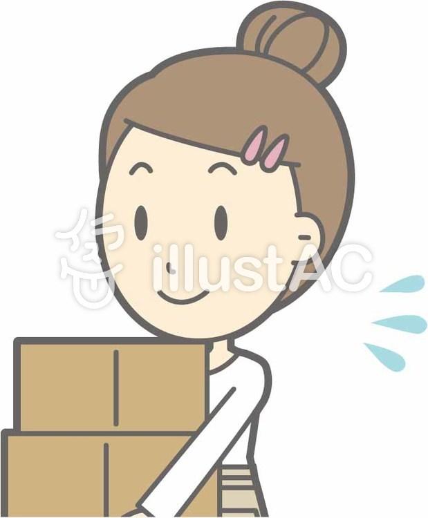 エプロン主婦c-荷物運び-バストのイラスト