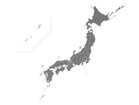 日本地図 白黒 県境あり