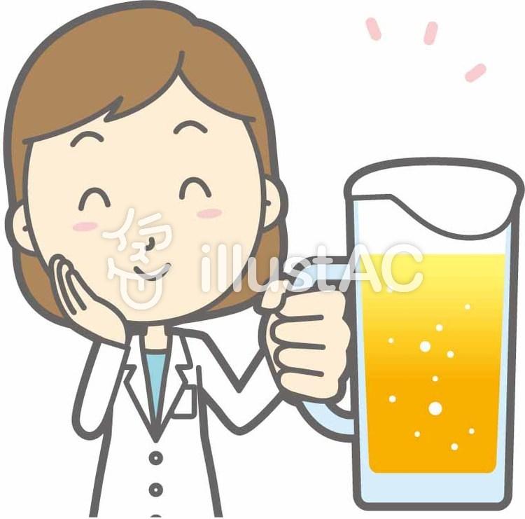 栄養士女性a-ビール笑顔-バストのイラスト
