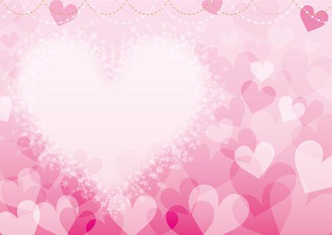 ピンクのハートいっぱいのフレーム