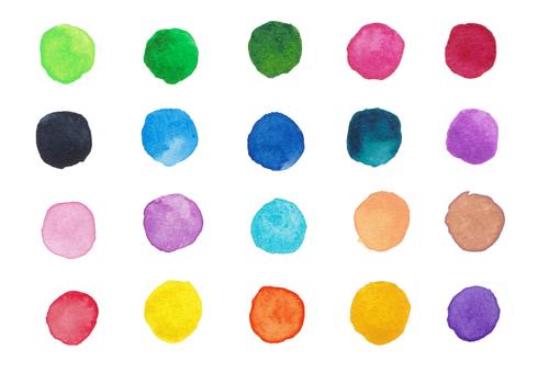 Watercolor polka dots -1