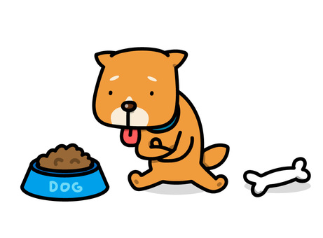Illustration of a dog troubled with rice