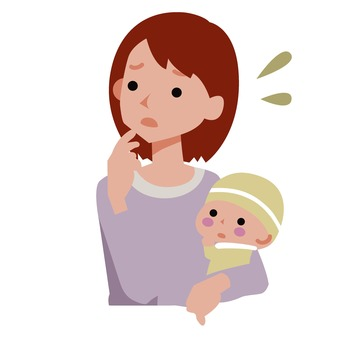 Anxious mother and child