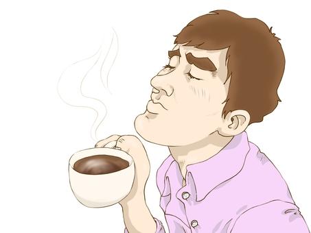 A man who drinks coffee