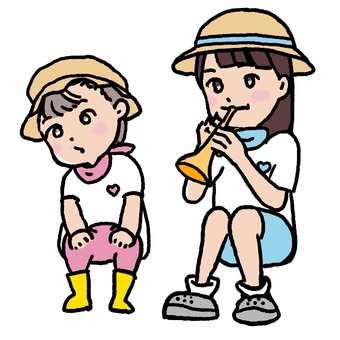 유아와 초등학생 자매