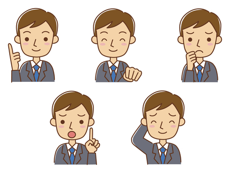A salaryman with various expressions