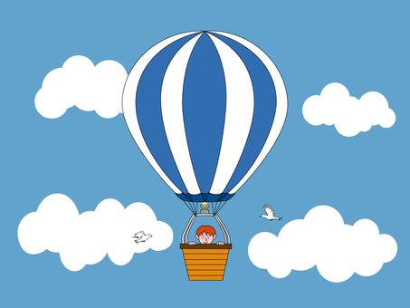 A boy on a balloon