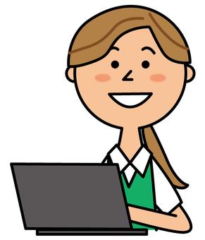 A woman striking a laptop