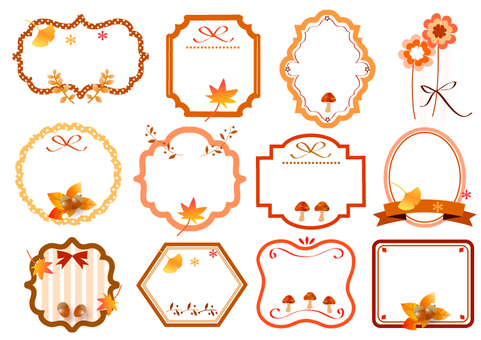 Assortment of autumn labels