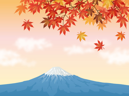 Mt. Fuji of autumn leaves maple and sunset