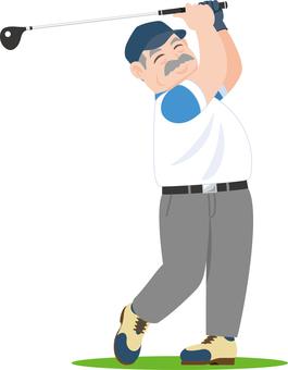 Golf swing senior golfer