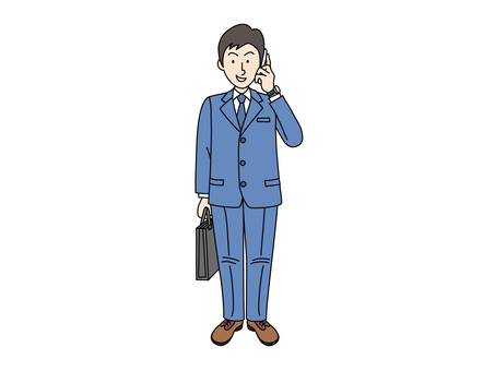A businessman who is calling on a cell phone