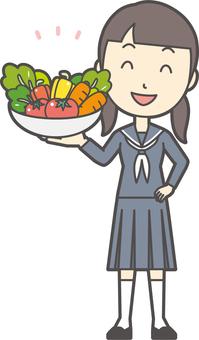 Junior high school sailor woman-358-whole body