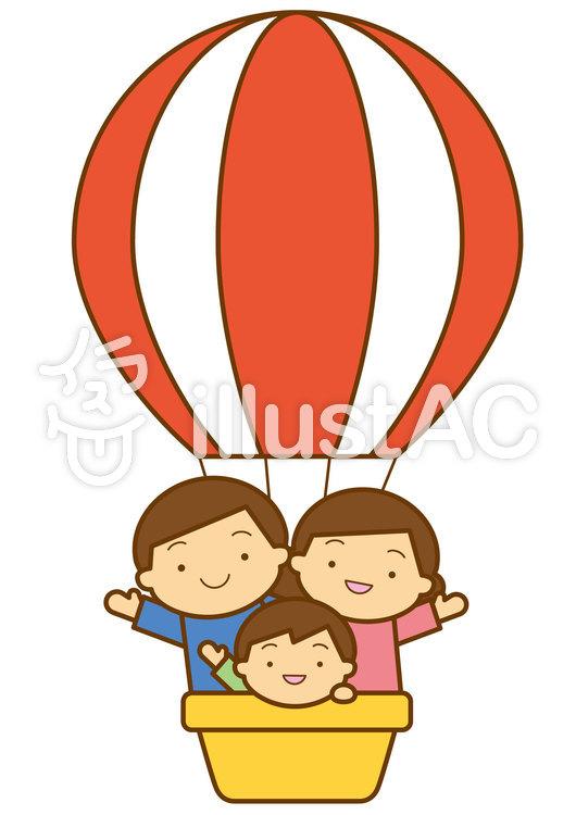 気球と家族4cのイラスト