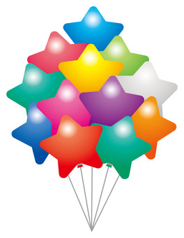 Colorful star balloon bunch ☆ ☆ for events