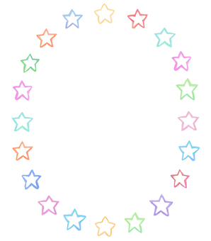 Water color star circle frame 1