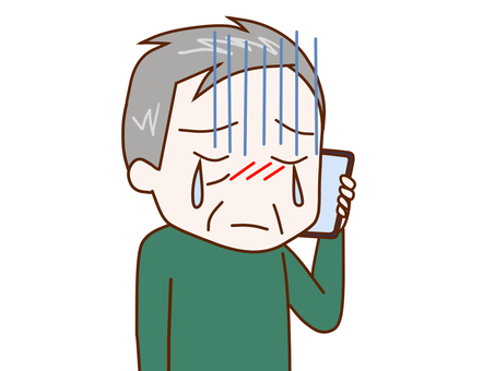 An old man 2 who talks while crying on a smartphone