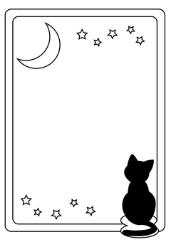 Black cat and moon frame (monochrome)