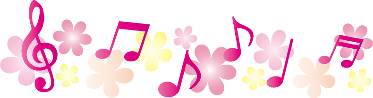 Pink Bright note and flower line