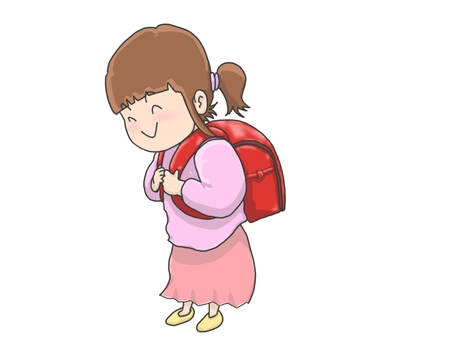 A girl with a school bag