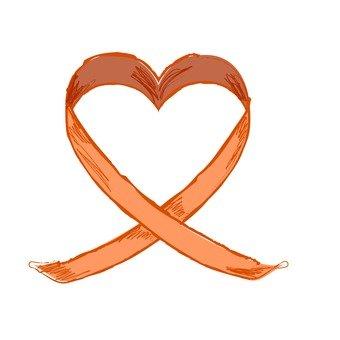 Orange heart ribbon