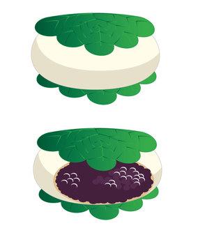 Kashiwa cake 2 kinds