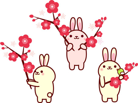 Rabbit and plum blossoms