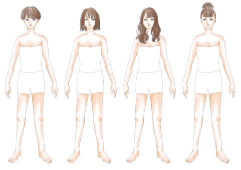 Fashion illustration brown hair body 02
