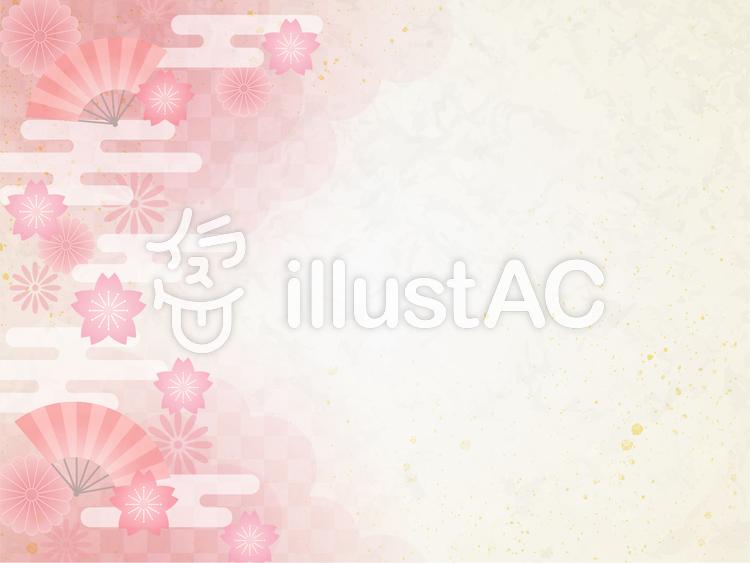 桜と扇子のイラスト