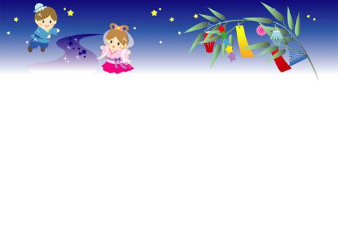 織姫彦星と笹飾りの夜空