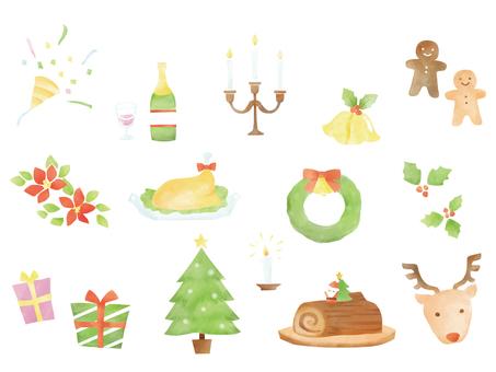 Christmas set watercolor