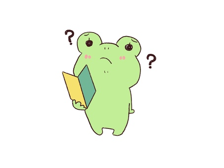 Frog thinking while holding a beginner mark