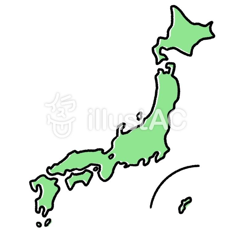 ざっくりとした日本地図可愛い手描きイラスト No 1450818無料