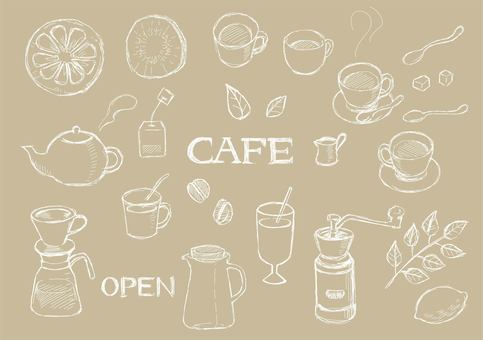 Hand drawn cafe 01 white