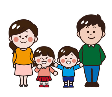 4 people family / parents (children, mother, father)