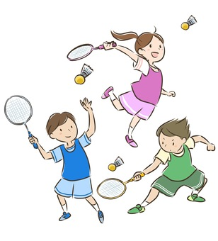 Family badminton (child color)