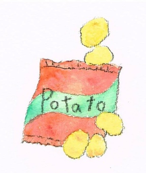 Potato chips watercolor