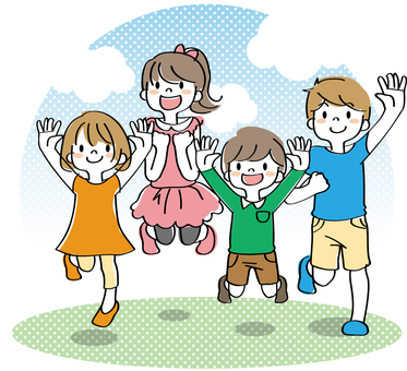 Kids jumping with background